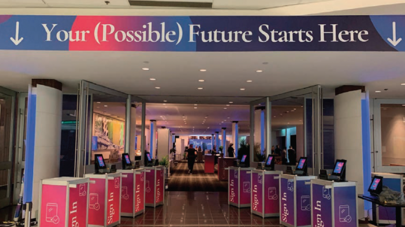 Facial recognition check-in kiosks at SingularityU Canada Summit 2019 event