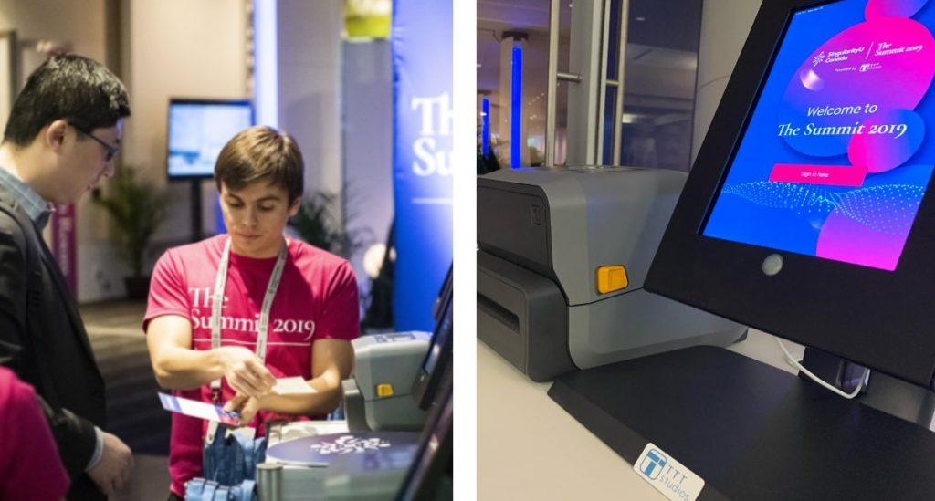 SingularityU Canada Summit 2019 attendees using AmandaAI Events to check-in