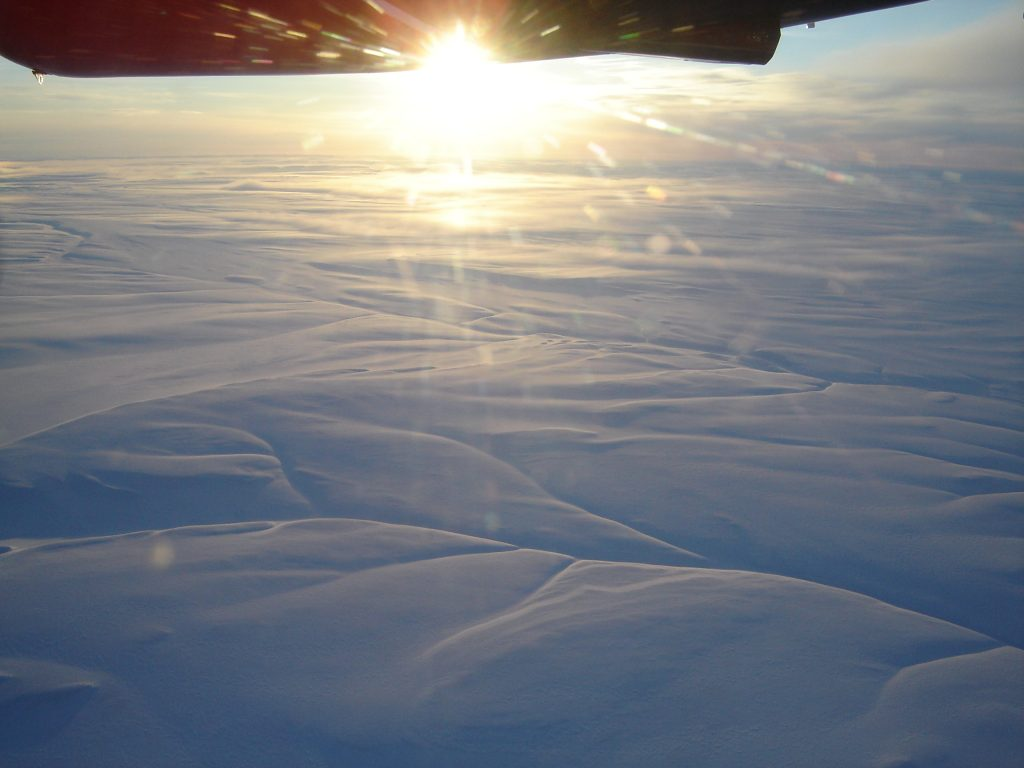 Picture of the arctic from a MC-130 Hercules plane in the air