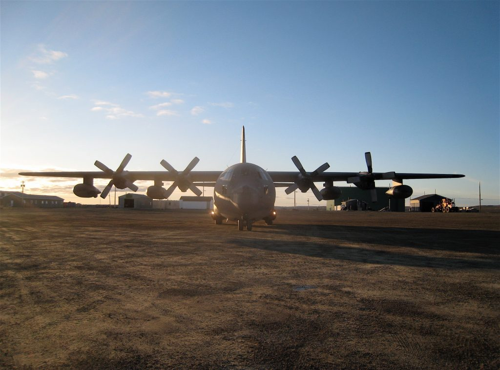 MC-130 Hercules plane parked on a runway at a research outpost in Nunavut