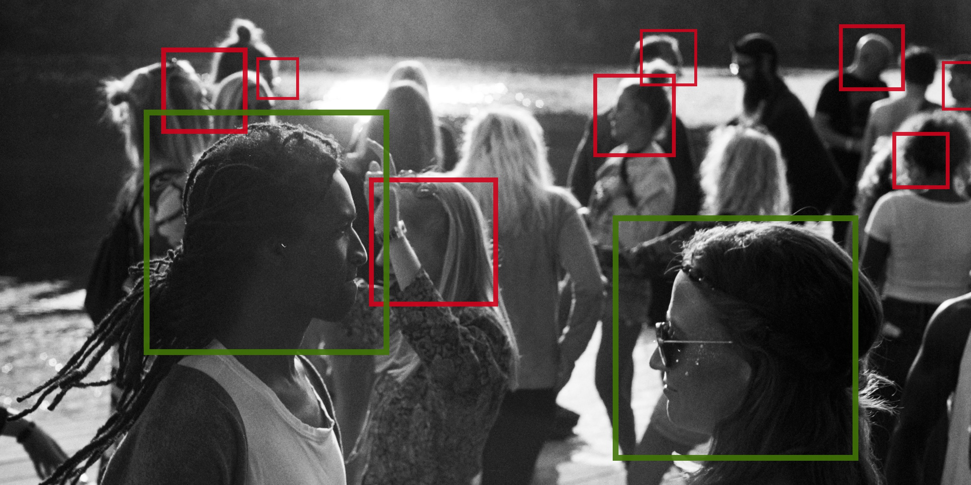 Black and white image of people being scanned by facial recognition AI for AI ethics blog banner