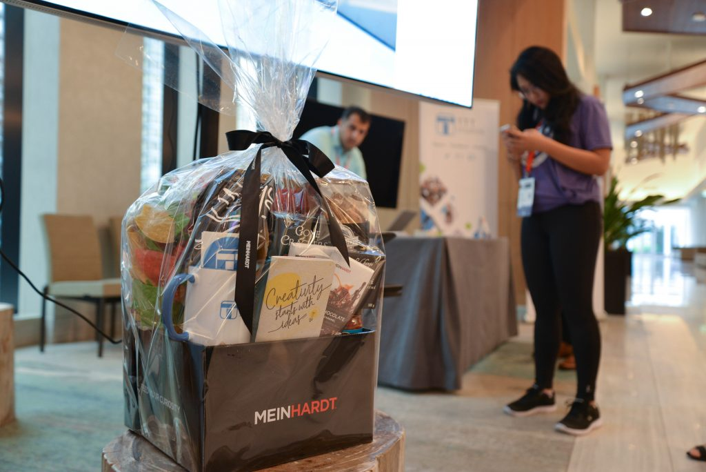 Gift basket filled with treats from Meinhardt and TTT swag