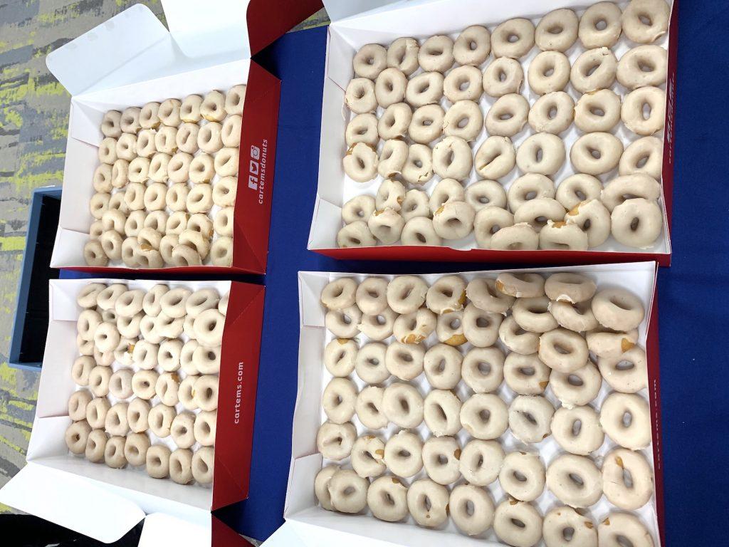 Close-up of mini Vanilla iced Cartems doughnuts