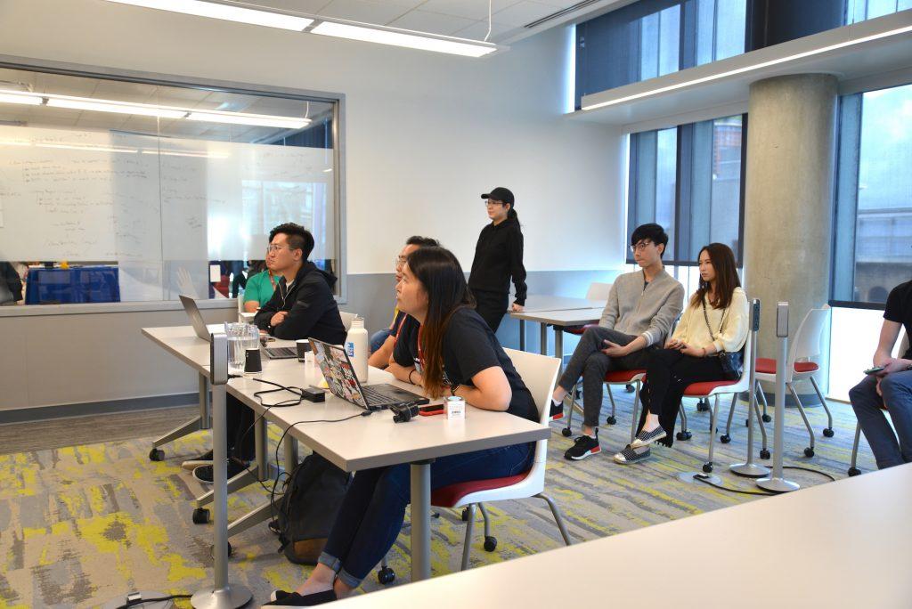 VanHacks Judges Yan Hong, Vivian Chan, and Andy Wong during preliminary judging round