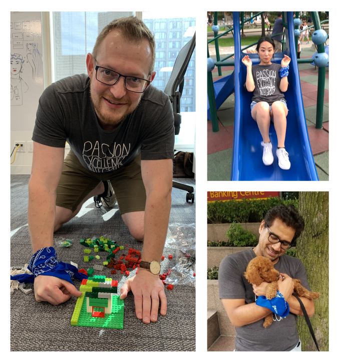 Collage of Mark building a lego house, Pauline going down a slide, Sahil holding a dog like a baby