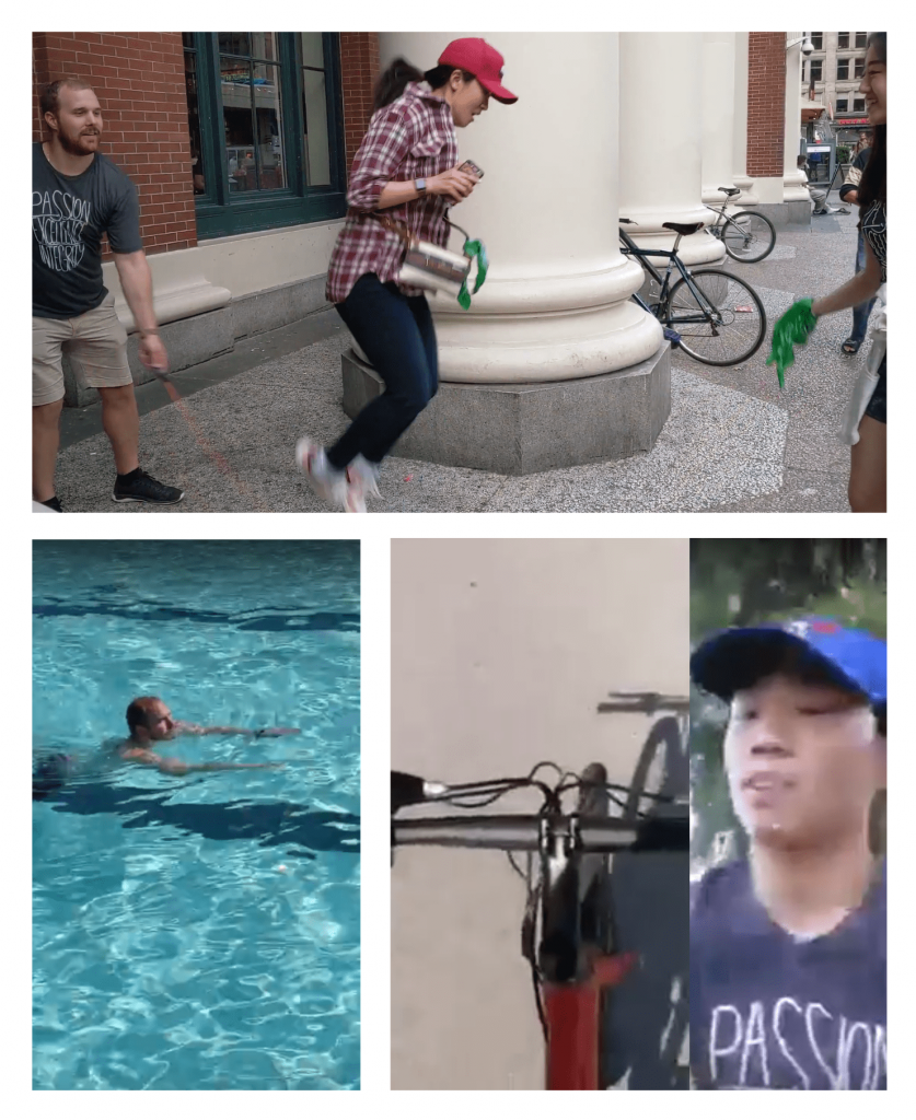 Collage of Becky skipping rope, Mitch swimming 3 laps at Kits pool, Gordon biking around all of Stanley Park