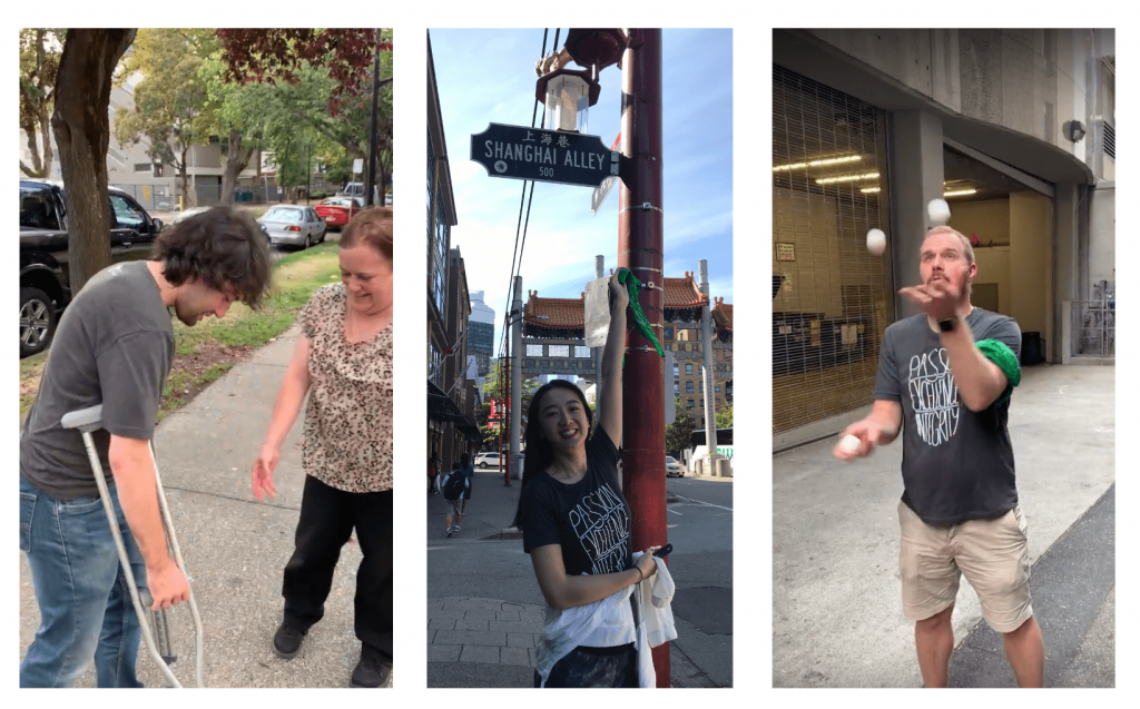 Collage of Robert borrowing crutches from stranger, Xiaowei by Shanghai Alley 500 street sign, Mitch juggling 3 eggs