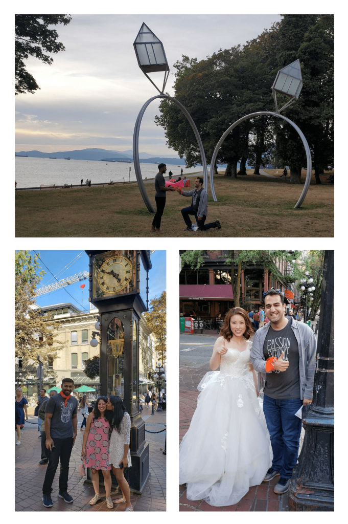 Collage of Amer pretending to propose to Gokul, Gokul beside two people kissing in Gastown, Amer posing beside a bride