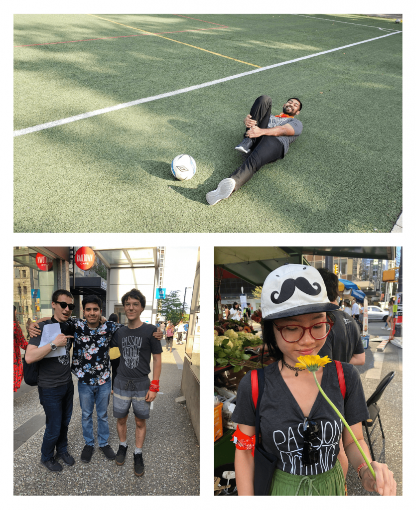 Gokul pretending to be injured from soccer, Oleg and Jude posing with Wali, Doan smelling dandelion