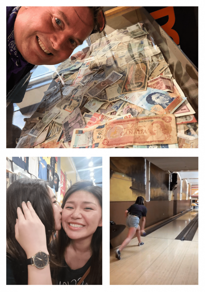 Collage of Chris with Canadian $2 bill, Ziwei getting kissed by ESL student from different country, Lara bowling a strike