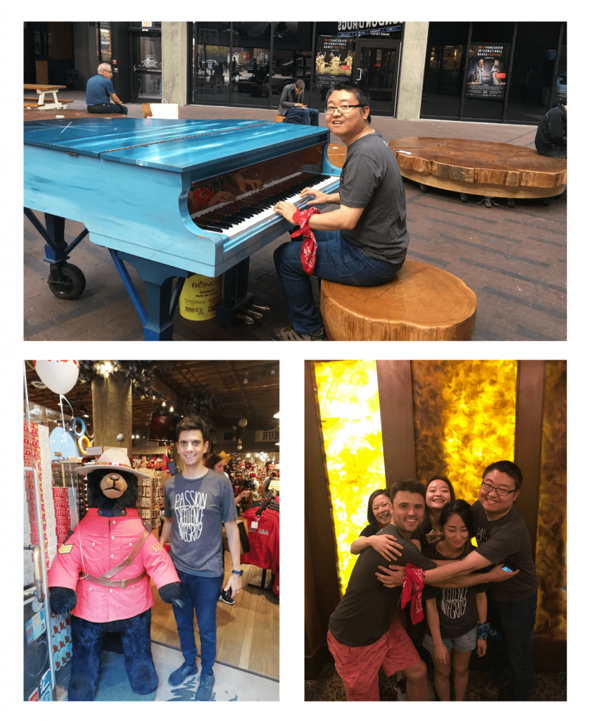 Collage of Anson playing a public piano, Jose posing with RCMP bear, red team hugging Pauline