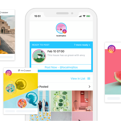 """Mockups of """"Later"""", a Instagram scheduling app"""
