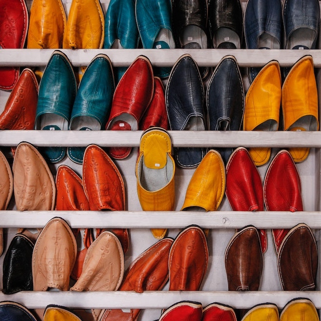 A colourful wall of shoes