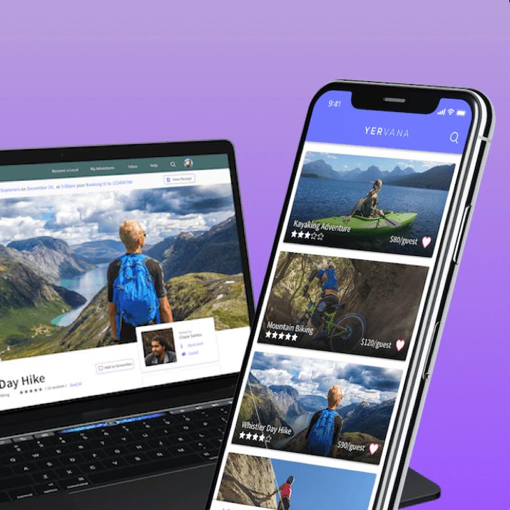 mockup of yervana app on mobile and desktop