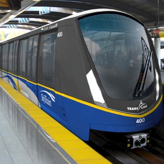 Close-up picture of a skytrain
