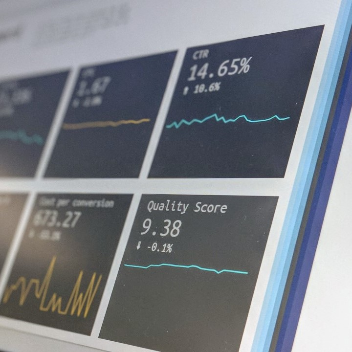 Dashboards and graphs on a computer screen