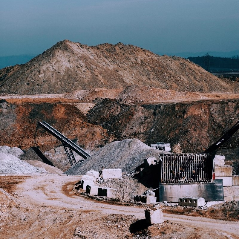 Facilities being built on a mining site