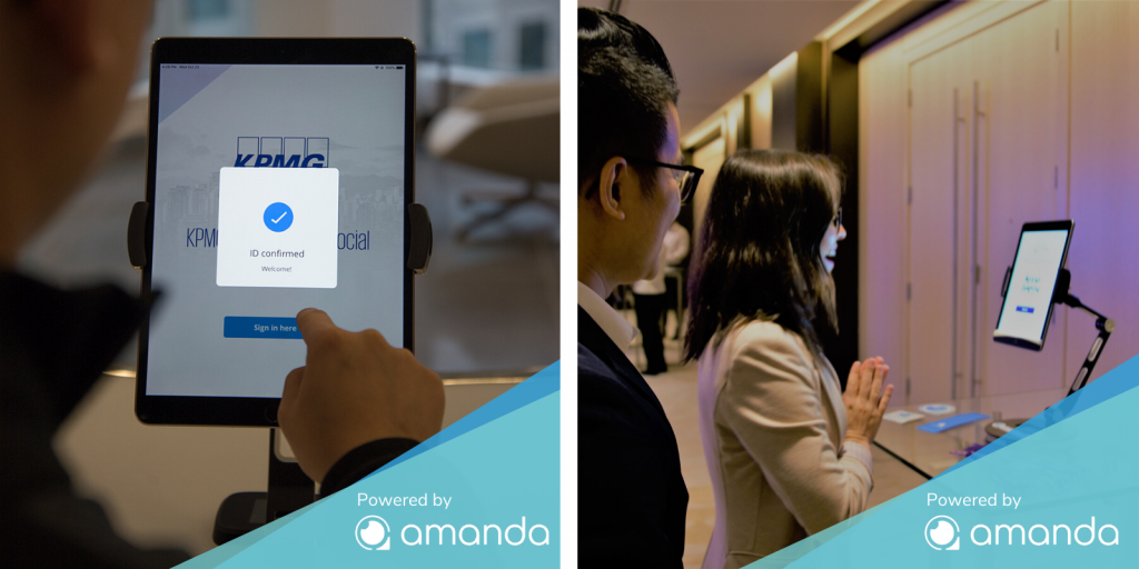 Two frame image showing someone using Amanda AI on an iPad indicating their ID was confirmed by facial recognition and the second frame is a person excitedly using Amanda AI