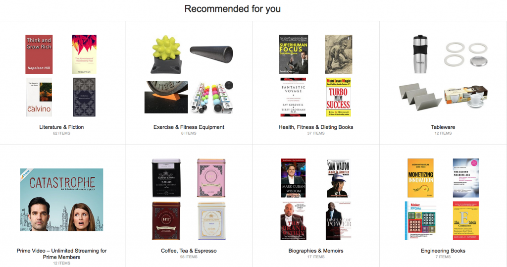 A display of items of amazon.com in Amazon's recommended for you section.