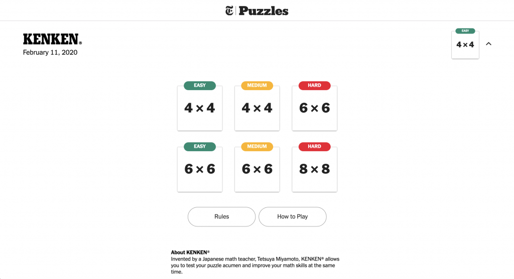 Screenshot of Ken Ken a NYT game made in Flutter