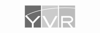 Black and white logo for YVR