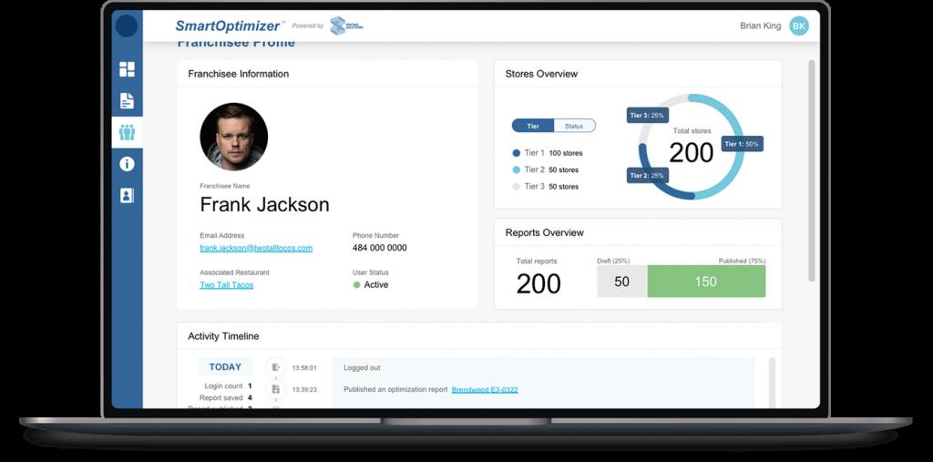 Mockup of Franchisee view of the SmartOptimizer app