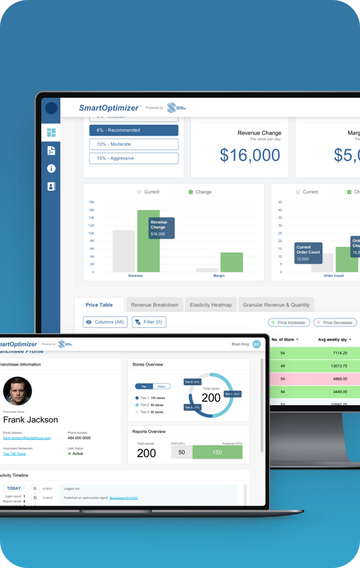 Mockup of the pricing solutions web app on desktop and laptop screen