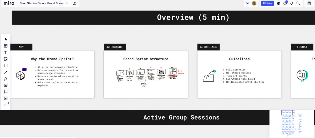 Outlining a design sprint on the virtual whiteboard