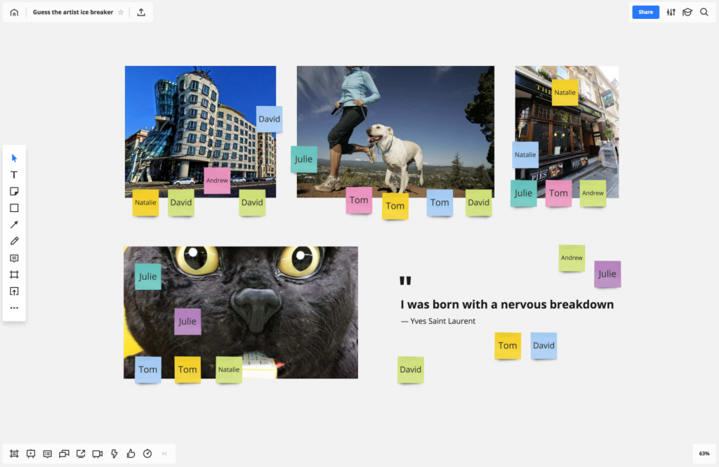 Icebreaker games hosted on a virtual whiteboard