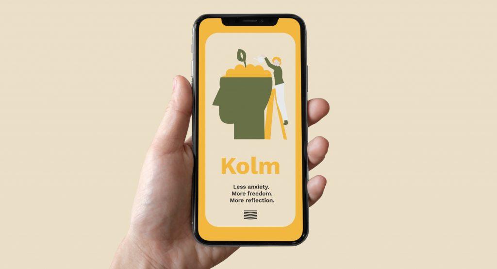 design mockup of the Kolm app