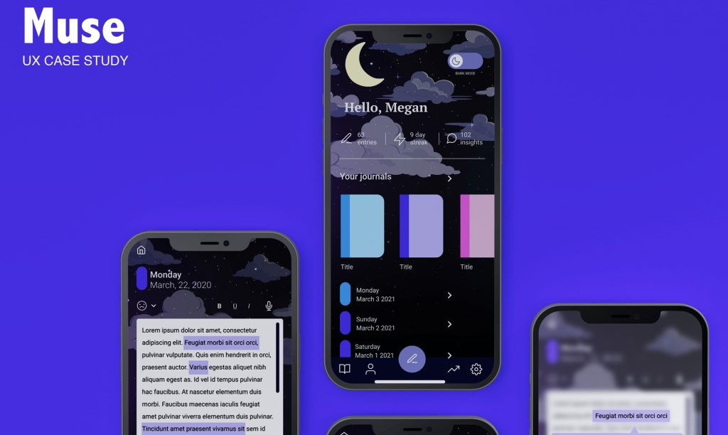 design mockup of the Muse app